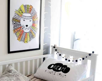 LION Art Print < A3 > Illustration  Kids Art Print, Kids Room decor, Nursery, Baby, Wall Art, Poster, Boys Room Decor