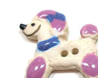 "Ceramic DOG Button, Handmade fancy poodle in purple & blue, 1 3/8""."