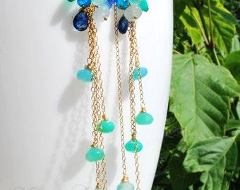 Summer dream -14k gold fill, chrysoprase, kyanite, aquamarine, green onyx, apatite and blue Chalcedony dangle earrings