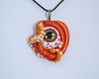 brown eyed orange tentacle necklace pendant beach summer