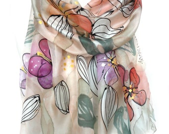 Hand Painted Scarf. Silk Scarf. Anniversary Birthday Gift. Genuine Silk Art. Woman Scarf. Whimsical Scarf. 18x71in MADE to ORDER