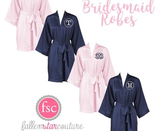 Bridal Party Robes, Satin Robes, Kimono Robe, Wedding Robes ,Bridesamid Satin Robes , Getting Ready Robes, Wedding Photo Props