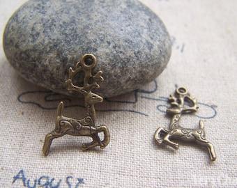 Antique Bronze Jumping Reindeer Charms 14x22mm Set of 30  A1073