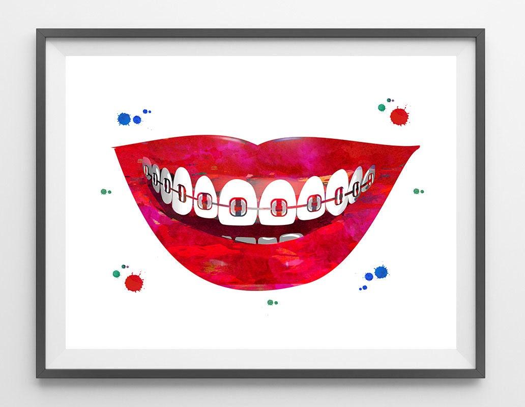 Dental Kunstdruck Hosenträger Aquarell Zähne Anatomie