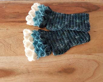 Blue Aqua Fingerless Mitts - Blue Drivers Mitts - Navy Blue Mitts - Blue Dragon Mitts - Blue Mermaid Mitts - Student Gift - Ready to Ship