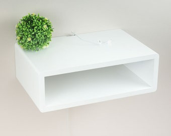 Genial Whyte Slim Modern Floating Nightstand Table, Wall Mount Side Table, Bedside  Table White