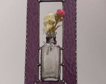 Stained Glass Vintage Bottle Bud Vase Window Panel