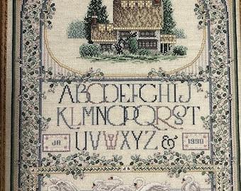 MAYniaSALE Teresa Wentzler, Vintage, 1990, English Cottage Sampler , Just Cross Stitch, Item # 102, Counted Cross Stitch, Pattern