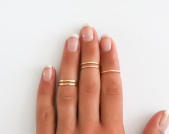 Gold stacking rings, 5 Above the knuckle rings, gold midi ring, plain band midi rings, gold shiny thin rings set of 5, gold filled rings