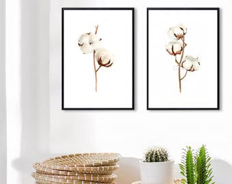 Set of 2 COTTON bolls botancial Watercolor Painting print, Flowers Abstract Brown Beige, Shabby Chic Wall Art Giclee Print
