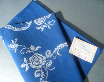 Vintage Hand Embroidered Tablecloth Blue Linens White Floral Table Cloth New Old Stock