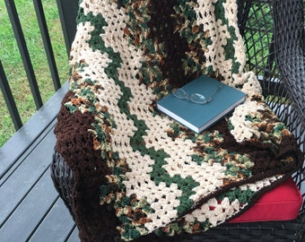 Sale--Granny stitch hand crocheted blanket.shades of green, brown and tan