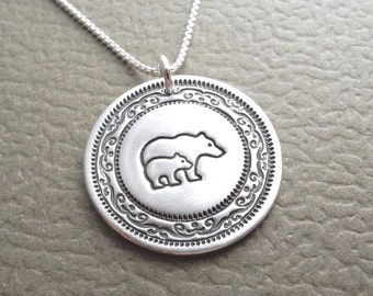 Mother and Baby Bear Necklace, Bear and Cub, New Mom Necklace, Fine Silver, Sterling Silver Chain, Made To Order