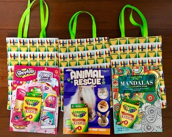 """Coloring book bag with free crayons/ free coloring book 81/2"""" x 12"""" with 12""""handle"""
