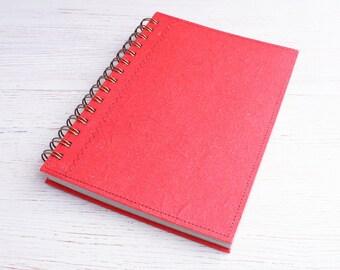 Blank Recycled A5 Notebook / Sketchbook / Art Journal / Red spiral bound notebook / Eco journal / blank red notebook / unlined notebook