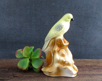 Vintage Bird Figurine Ceramic, Parakeet Figurine, Vintage Yellow Bird Figurine, Made in Brazil, Ceramic Parrot, Bird Decor, Home Decor