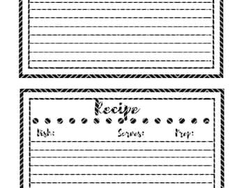 Recipe Card Polk Dots  Instant Download