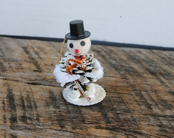 Vintage Pine Cone Snowman Ornament with Candy Cane