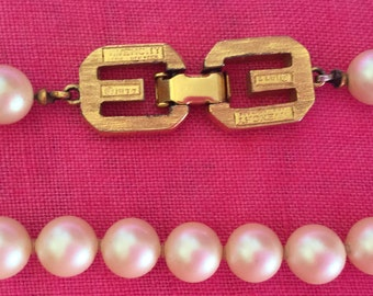 "GIVENCHY vintage 1977 Pearl Necklace 17"" long when worn"