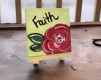 Faith Painting, Mini Canvas Art, Faith Art, Abstract Flower, Acrylic Painting, 4 by 4