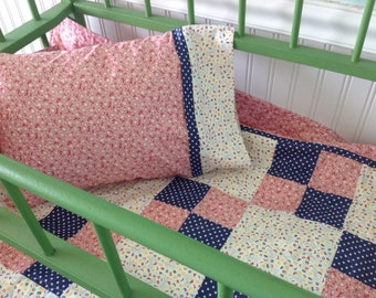 ABC's Vintage Feedsack quilt with matching pillowcase