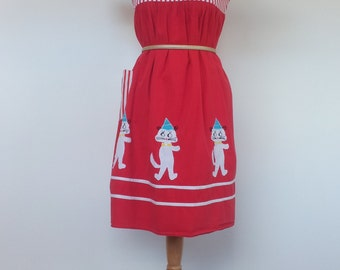 Party Cat Dress Quirky Kitsch Red Kitty Hat UK 10 S US 8
