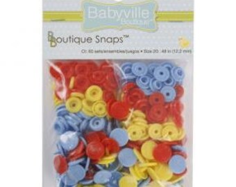Babyville Boutique Monsters Design Snaps Red, Light Blue, Yellow-Size 20-60 sets per pack