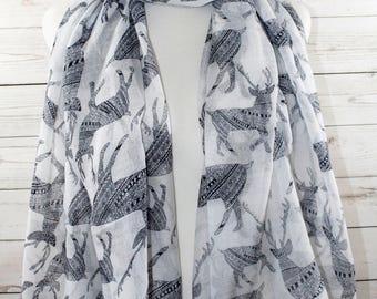 Moose Print Scarf,Christmas Scarf, Regular Finish in Beige,Decorative Moose Scarf,Animal Print Scarf