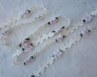 Cream Ivory Rococo Ribbon Trim w Pink Rose Bud Flower Baby Scrapbook Quilt