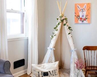 Fox and Floral Canvas Print, Nursery Decor, Kids Room Decor, 16x20, Wall Art