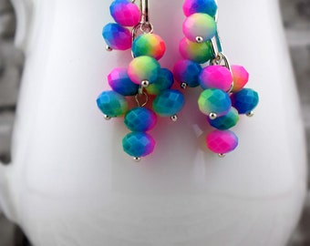 Neon rainbow earrings, Colorful earrings, Multicolor earrings, Gay Pride earrings, Bright earrings