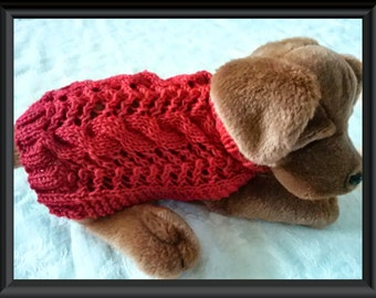 Dog sweater Knitting pattern Aran twists called Cables and Lace Downloadable PDF