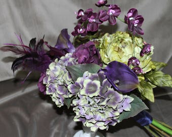 Purple and Chartreuse Bridal Bouquet with feathers