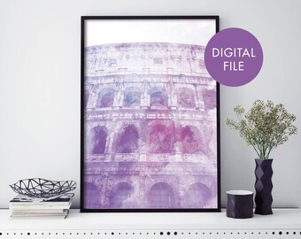 Colosseum, Rome, Italy Watercolour Print Wall Art   Print At Home   Digital Download File