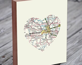 Madison WI Map , Madison Wisonsin, Madison WI Art, Madison Map - Wood Block Art Print