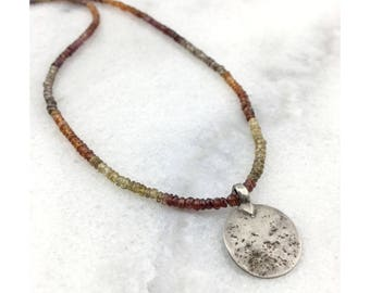 Tundra Sapphires AAA Precious Multi-Colored Natural Genuine Rondelles with a Late 19th Century Coin Pendant 925 Sterling Silver Necklace