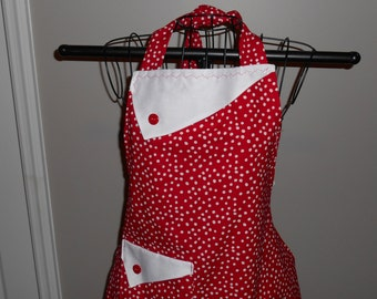 Red and White Polka Dot - Women's Apron - Ruffle - Pocket