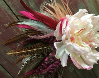 Light Pink Peony Flower and Feather Fascinator
