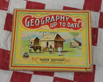 Antique, card game, Geography up to date, by Parker Brothers.