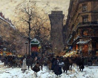 Paris Porte Saint-Martin Painting by Eugène Galien-Laloue Art Print Reproduction