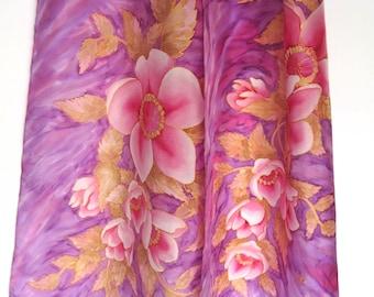 Hand painted silk scarf Purple pink  - Floral silk shawl Spring silk shawl Magnolia scarf Lilac scarf Light purple scarf Violet  neck scarf