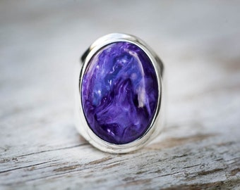 Charoite Ring 6.5 - Charoite and Sterling Silver Ring size 6.5 - Siberian Charoite - Genuine Charoite Ring - Sterling Silver Charoite Ring