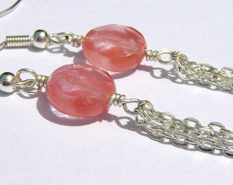Strawberry Pink Long Dangle Earrings