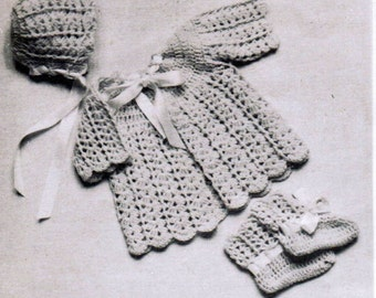 Baby shell stitch crochet pattern set PDF / Jacket, booties and cap crochet pattern / Vintage baby set pattern
