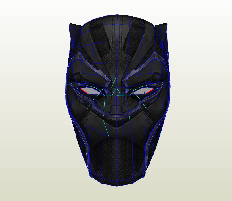 Black panther movie helmet pepakura unfold for foam