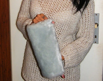 Ligth gray blue gray Faux fur muff for winter