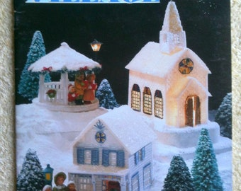 Vintage Annies Attic Plastic Canvas Booklet Winter Village Christmas Decoration 14 Mesh Plastic Canvas Embrodery Floss Tapestry Yarn