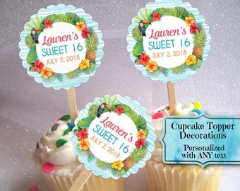12 Cupcake Topper Decorations, Hawaiian, Tropical, Hibiscus Flowers, Pineapple, Luau, Pool Party, Summer, Bridal, Baby Shower, Birthday