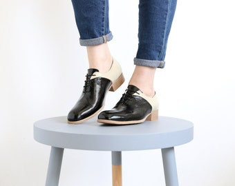 Oxford shoes black and cream patent Leather Women's shoes , free shipping , ADIKILAV ,