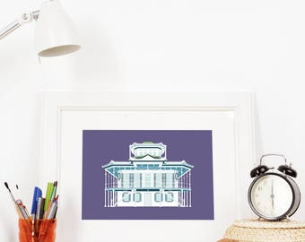 Doullut Steamboat House 5x7 Art Print, Southern New Orleans Louisiana Mississippi River